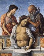 Marco Zoppo THe Dead Christ with Saint John the Baptist and Saint Jerome oil painting